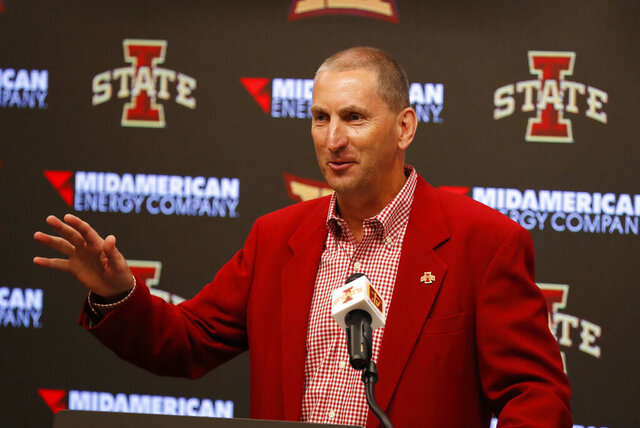 FILE - In this Aug. 1, 2018, file photo, Iowa State Athletic Director Jamie Pollard speaks during an NCAA college football news conference, in Ames, Iowa. Iowa State's athletic budget outlook is better than expected, and the school will push forward with several initiatives that should create new revenue streams, athletic director Jamie Pollard said in a video sent to fans Monday, Jan. 25, 2021. (AP Photo/Charlie Neibergall, File)