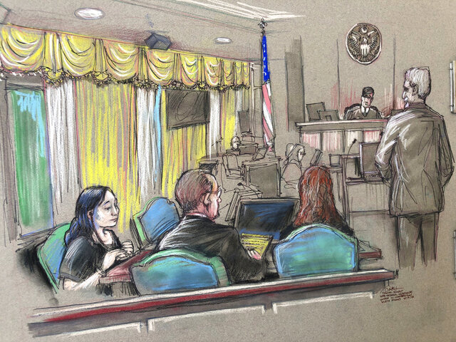 FILE - In this April 15, 2019, file court sketch, Yujing Zhang, left, a Chinese woman charged with lying to illegally enter President Donald Trump's Mar-a-Lago club, listens to a hearing before Magistrate Judge William Matthewman in West Palm Beach, Fla.  Federal prosecutors want an 18-month prison sentence for the Chinese businesswoman convicted of trespassing and lying to Secret Service agents. Assistant U.S. Attorney Rolando Garcia said in a court memo that he agrees sentencing guidelines suggest that Zhang get between zero and six months when she is sentenced in Fort Lauderdale, Fla., on Nov. 22.  (Daniel Pontet via AP, File)