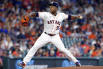 Houston Astros starting pitcher Framber Valdez throws to a Texas Rangers batter during the first inning of a baseball game Saturday, July 24, 2021, in Houston. (AP Photo/Michael Wyke)