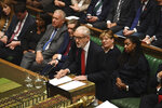 "In this handout photo provided by the House of Commons, leader of Britain's Labour party Jeremy Corbyn speaks in Parliament in London, Wednesday, Sept. 25, 2019. An unrepentant Prime Minister Boris Johnson brushed off cries of ""Resign!"" and dared the political opposition to try to topple him Wednesday at a raucous session of Parliament, a day after Britain's highest court ruled he acted illegally in suspending the body ahead of the Brexit deadline. (Jessica Taylor/House of Commons via AP)"