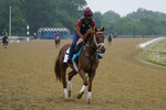 Known Agenda trains ahead of the 153rd running of the Belmont Stakes horse race in Elmont, N.Y., Thursday, June 3, 2021. (AP Photo/Seth Wenig)