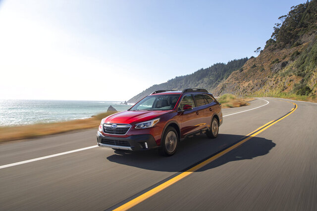 This undated photo from Subaru shows the Outback, a midsize crossover with a maximum towing capacity of 3,500 pounds, which is suitable for decently sized boats and campers. (Courtesy of Subaru of America via AP)