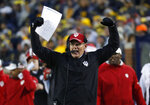 Indiana head coach Tom Allen reacts in the first half of an NCAA college football game against Michigan in Ann Arbor, Mich., Saturday, Nov. 17, 2018. (AP Photo/Paul Sancya)