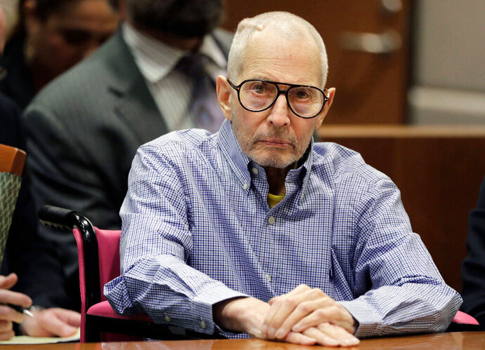 In this Dec. 21, 2016 file photo, Robert Durst sits in a courtroom in Los Angeles. Durst faces trial in the slaying of his best friend 20 years ago. Jury selection begins Wednesday, Jan.19, 2020, in Los Angeles.  (AP Photo/Jae C. Hong, Pool, File)