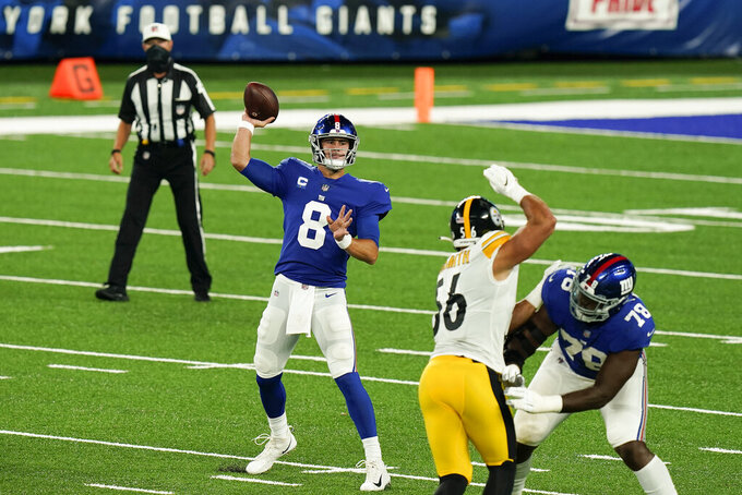New York Giants quarterback Daniel Jones (8) passes against the Pittsburgh Steelers during the second quarter of an NFL football game Monday, Sept. 14, 2020, in East Rutherford, N.J. (AP Photo/Seth Wenig)