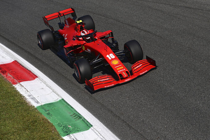 Ferrari driver Charles Leclerc of Monaco steers his car during the qualifying session at the Monza racetrack in Monza, Italy, Saturday, Sept.5, 2020. The Italian Formula One Grand Prix will be held on Sunday. (Miguel Medina, Pool via AP)