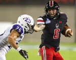 Austin Peay quarterback Jeremiah Oatsvall (6) runs the ball against Central Arkansas during an NCAA college football game Saturday, Aug. 29, 2020, in Montgomery, Ala. (Jake Crandall/The Montgomery Advertiser via AP)