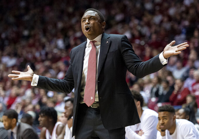 Alabama head coach Avery Johnson reacts to a ref's call against LSU during the first half of an NCAA college basketball game, Saturday, March 2, 2019, in Tuscaloosa, Ala. (AP Photo/Vasha Hunt)