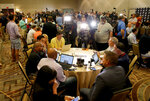 NFL head coaches speak to the media during the NFC/AFC coaches breakfast during the annual NFL football owners meetings, Tuesday, March 26, 2019, in Phoenix. (AP Photo/Matt York)