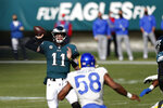 Philadelphia Eagles' Carson Wentz plays during the second half of an NFL football game against the Los Angeles Rams, Sunday, Sept. 20, 2020, in Philadelphia. (AP Photo/Laurence Kesterson)