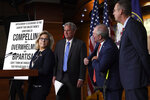 House Minority Leader Kevin McCarthy of Calif., second from left, is joined by Rep. Liz Cheney, R-Wy., left, House Minority Whip Steve Scalise, R-La., second from right, and House Judiciary Committee ranking member Rep. Doug Collins, R-Ga., right, at the start of a news conference on Capitol Hill in Washington, Tuesday, Dec. 3, 2019. (AP Photo/Susan Walsh)