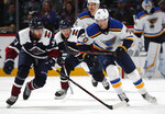 St. Louis Blues center Oskar Sundqvist, right, pursues the puck with Colorado Avalanche left wing J.T. Compher, left, and center Tyson Jost in the second period of an NHL hockey game Saturday, Feb. 16, 2019, in Denver. (AP Photo/David Zalubowski)