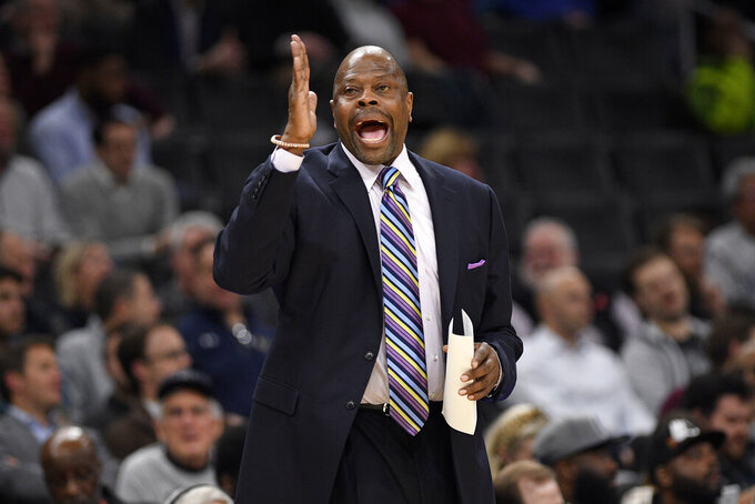 Georgetown coach Patrick Ewing reacts during the first half of the team's NCAA college basketball game against Butler, Tuesday, Jan. 28, 2020, in Washington. Butler won 69-64. (AP Photo/Nick Wass)