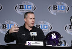 Northwestern head coach Pat Fitzgerald speaks during a news conference for the Big Ten Conference championship NCAA college football game, Friday, Nov. 30, 2018, in Indianapolis. Northwestern will play Ohio State on Saturday for the championship. (AP Photo/Darron Cummings)