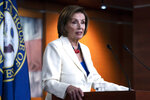 Speaker of the House Nancy Pelosi, D-Calif., speaks during a news conference on Capitol Hill in Washington, Thursday, May 20, 2021. (AP Photo/Jose Luis Magana)