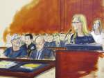 In this courtroom artist's sketch, defendant Jeffrey Epstein, left, listens as accuser Annie Farmer, second from right, speaks during a bail hearing in federal court, Monday, July 15, 2019 in New York. Farmer says she was 16 when she