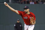 Boston Red Sox starting pitcher Nathan Eovaldi delivers to the Baltimore Orioles in the first inning of a baseball game at Fenway Park, Friday, Sept. 27, 2019, in Boston. (AP Photo/Elise Amendola)