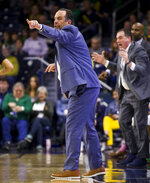 Notre Dame head coach Mike Brey directs players during the first half of an NCAA college basketball game against Georgia Tech on Saturday, Feb. 1, 2020, in South Bend, Ind. Notre Dame won 72-80. (AP Photo/Robert Franklin)