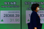 A woman walks past a bank's electronic board showing the Hong Kong share index at the stock exchange in Hong Kong Monday, March 29, 2021. Asian stocks rose Monday after Wall Street hit a new high and investors were encouraged by government stimulus and the rollout of coronavirus vaccines. (AP Photo/Vincent Yu)
