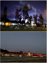 This combination of photos shows protesters marching in the street as lightning flashes in the distance on Aug. 20, 2014,  top, and the same location along West Florissant Avenue on July 24, 2019, in Ferguson, Mo. (AP Photo/Jeff Roberson)