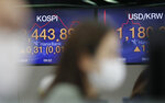 A currency trader watches computer monitors near screens showing the Korea Composite Stock Price Index (KOSPI), left, and the foreign exchange rate between U.S. dollar and South Korean won at the foreign exchange dealing room in Seoul, South Korea, Wednesday, Sept. 16, 2020. Shares were mostly higher in Asia on Wednesday after advances for big technology companies carried Wall Street to further gains overnight. (AP Photo/Lee Jin-man)