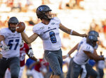 Eastern Illinois quarterback Harry Woodbery (8) drops back to throw the ball during the second half of an NCAA college football game against Indiana, Saturday, Sept. 7, 2019, in Bloomington, Ind. Indiana won 52-0. (AP Photo/Doug McSchooler)