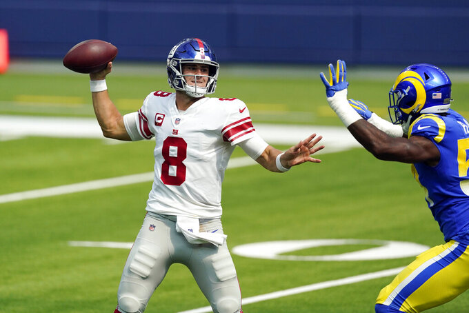 New York Giants quarterback Daniel Jones throws against the Los Angeles Rams during the first half of an NFL football game Sunday, Oct. 4, 2020, in Inglewood, Calif. (AP Photo/Ashley Landis)