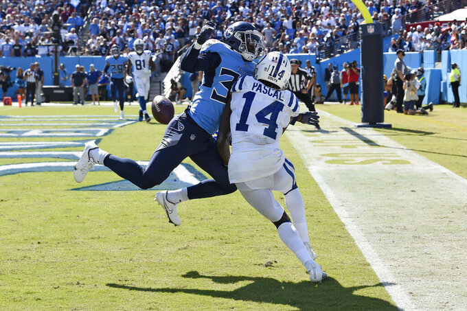 Tennessee Titans cornerback Breon Borders (39) breaks up a pass in the end zone intended for Indianapolis Colts wide receiver Zach Pascal (14) in the second half of an NFL football game Sunday, Sept. 26, 2021, in Nashville, Tenn. (AP Photo/Mark Zaleski)