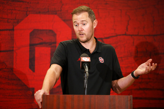 Oklahoma coach Lincoln Riley speaks during an during an NCAA college football press conference in Norman, Okla., Thursday, Aug. 5, 2021. (Bryan Terry/The Oklahoman via AP)