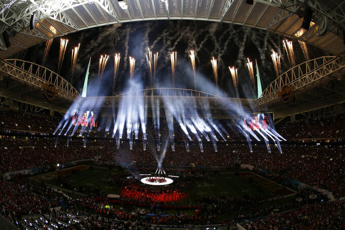 Fireworks go off during the halftime show at the NFL Super Bowl 54 football game between the San Francisco 49ers and Kansas City Chiefs', Sunday, Feb. 2, 2020, in Miami Gardens, Fla. (AP Photo/Charlie Riedel)