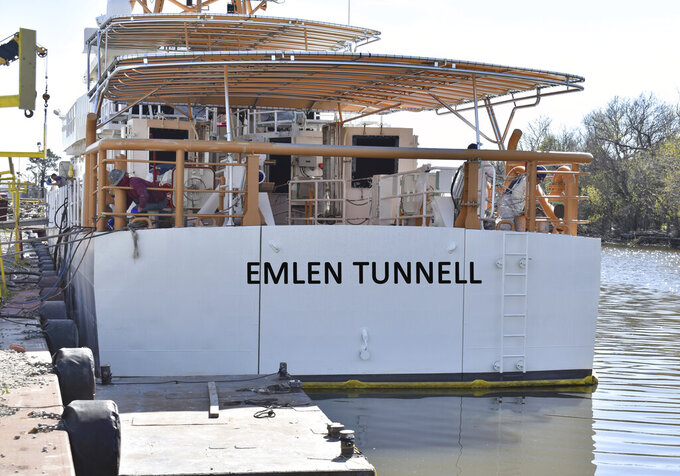 This undated photo provided by the United States Coast Guard shows a U.S. Coast Guard cutter named for Emlen Tunnell, docked in Bollinger Shipyard, in Lockport, La. Tunnell, the first Black player inducted into the Pro Football Hall of Fame, served in the Coast Guard during and after World War II, where he was credited with saving the lives of two shipmates in separate incidents. Now, a Coast Guard cutter and an athletic building on the Coast Guard Academy campus are being named in honor of the former New York Giants defensive back. (United States Coast Guard via AP)