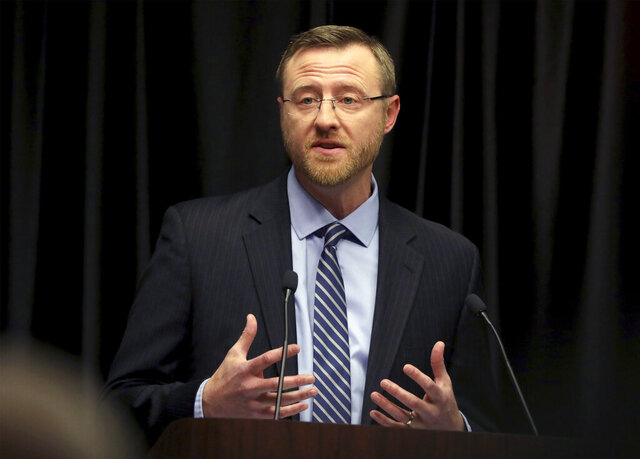 FILE - In this March 15, 2019 file photo, Wisconsin Supreme Court candidate Brian Hagedorn speaks during a debate at the Wisconsin State Bar Center in Madison, Wis. A conservative talk radio host blasted now Justice Hagedorn, for siding with liberals against revoking the Democratic governor's stay-at-home order on Wednesday, May 13, 2020. A former Republican state lawmaker tore into him on Twitter within minutes of the decision, saying the GOP had been