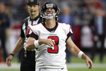 Atlanta Falcons kicker Matt Bryant (3) reacts to missing the point after against the Arizona Cardinals during the second half of an NFL football game, Sunday, Oct. 13, 2019, in Glendale, Ariz. (AP Photo/Ross D. Franklin)