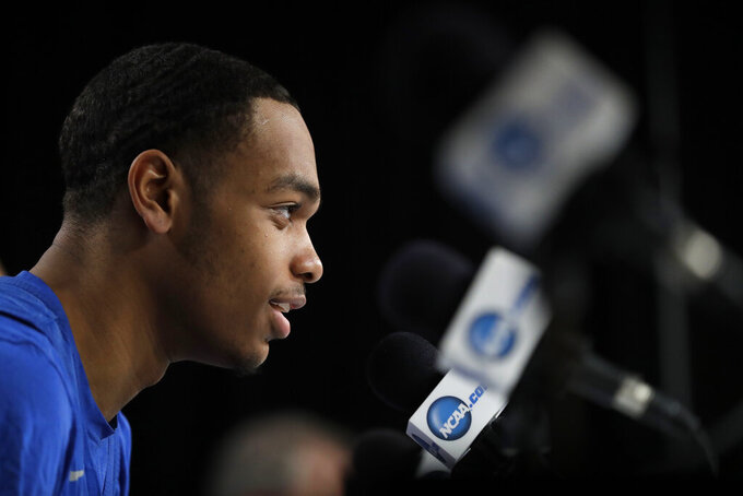 Kentucky's PJ Washington speaks during a news conference at the NCAA men's college basketball tournament Thursday, March 28, 2019, in Kansas City, Mo. Kentucky plays Houston in a Midwest Regional semifinal on Friday. (AP Photo/Jeff Roberson)