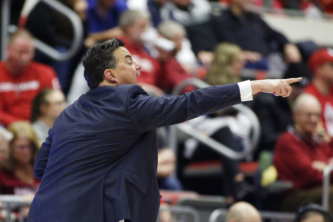 Arizona coach Sean Miller shouts to his players during the second half of an NCAA college basketball game against Washington State in Pullman, Wash., Saturday, Feb. 1, 2020. Arizona won 66-49. (AP Photo/Young Kwak)
