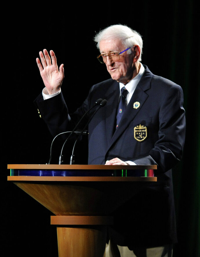 FILE - In this May 7, 2012, file photo, sports writer Dan Jenkins speaks after receiving the lifetime achievement award during the World Golf Hall of Fame inductions at World Golf Village in St. Augustine, Fla. Jenkins, the sports writing great and best-selling author known for his humor, has died. He was 89. TCU athletic director Jeremiah Donati confirmed Jenkins died Thursday, March 7, 2019, in his hometown of Fort Worth, Texas. (Will Dickey/The Florida Times-Union via AP)