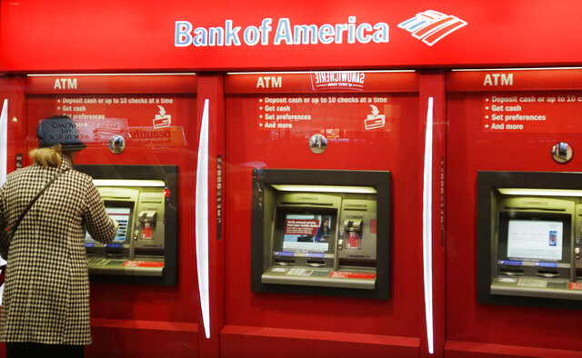 FILE - In this Nov. 23, 2015 file photo, a customer uses an ATM at a Bank of America in New York.  The banking industry collectively made $233.1 billion in profits in 2019, the Federal Deposit Insurance Corporation said Tuesday, Feb. 25, 2020, the industry's second-most profitable year ever. The slight drop in profits from 2018 is due to the drop in interest rates, which happened in the second half of last year.  (AP Photo/Mark Lennihan, File)