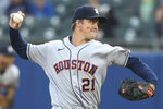 Houston Astros starting pitcher Zack Greinke throws during the second inning of the team's baseball game against the Toronto Blue Jays in Buffalo, N.Y., Friday, June 4, 2021. (AP Photo/Joshua Bessex)