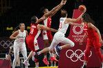 Serbia's Tina Krajisnik (33) drives to the basket against Canada during a women's basketball game at the 2020 Summer Olympics, Monday, July 26, 2021, in Saitama, Japan. (AP Photo/Eric Gay)