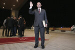 Algerian presidential candidate Abdelkader Bengrina arrives for televised debate in Algiers, Friday, Dec. 6, 2019. Restive Algeria is holding its first - and sole - televised presidential debate ahead of the consequential Dec. 12 poll. Five all-male candidates - Azzedine Mihoubi, Abdelmadjid Tebboune, Abdelkader Bengrina, Ali Benflis et Abdelaziz Belaid - are vying to make their case Friday evening to lead the North African country. (AP Photo/Fateh Guidoum)