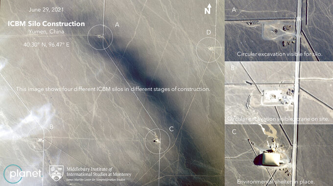 This June 29, 2021, satellite image provided by Planet Labs Inc. that has been annotated by experts at the James Martin Center for Nonproliferation Studies at Middlebury Institute of International Studies shows what analysts believe is a field of intercontinental ballistic missile silos near Yumen, China. The U.S. military is warning about what analysts have described as a major expansion of China's nuclear missile silo fields, at a time of heightened tension between the U.S. and China. (Planet Labs Inc., James Martin Center for Nonproliferation Studies at Middlebury Institute of International Studies via AP)