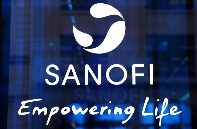 FILE - In this Feb. 7, 2019 the logo of French drug maker Sanofi is pictured at the company's headquarters, in Paris. French pharmaceutical group Sanofi ensured that it will make its COVID-19 vaccine, when ready, available in all countries, hours after the company's CEO said the United States will get first access. (AP Photo/Christophe Ena, File)
