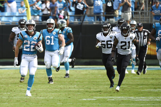 Carolina Panthers running back Christian McCaffrey (22) runs for a touchdown during the second half of an NFL football game against the Jacksonville Jaguars in Charlotte, N.C., Sunday, Oct. 6, 2019. (AP Photo/Mike McCarn)