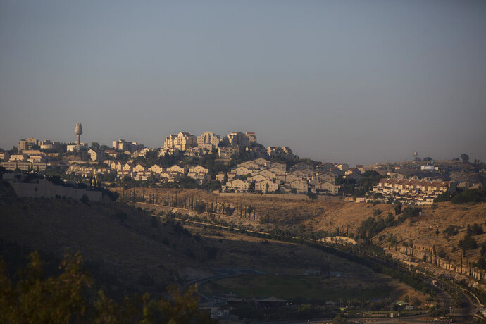 This Monday, June 29, 2020 photo shows an area near Israeli settlement of Maale Adumim, in the West Bank. The U.N.'s human rights chief Michelle Bachelet said that Israel's plan to begin annexing parts of the occupied West Bank would have