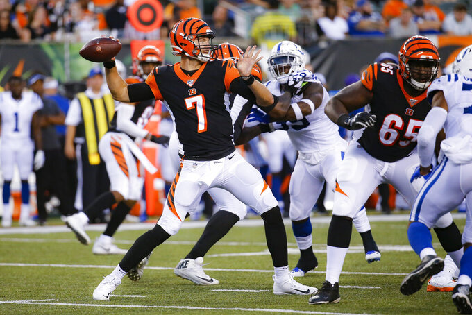 Indianapolis Colts quarterback Jacoby Brissett (7) throws a pass during the first half of the team's NFL preseason football game against the Cincinnati Bengals, Thursday, Aug. 29, 2019, in Cincinnati. (AP Photo/Frank Victores)