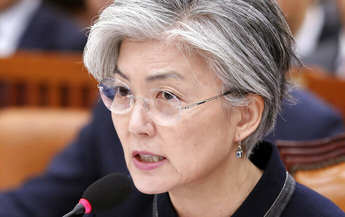 South Korean Foreign Minister Kang Kyung-wha answers a lawmaker's question at the National Assembly in Seoul, South Korea, Thursday, Nov. 8, 2018. Kang quoted U.S. officials as saying that it was North Korea that canceled a meeting this week between U.S. Secretary of State Mike Pompeo and a senior North Korean official on nuclear issues. (Kim Ju-hyung/Yonhap via AP)