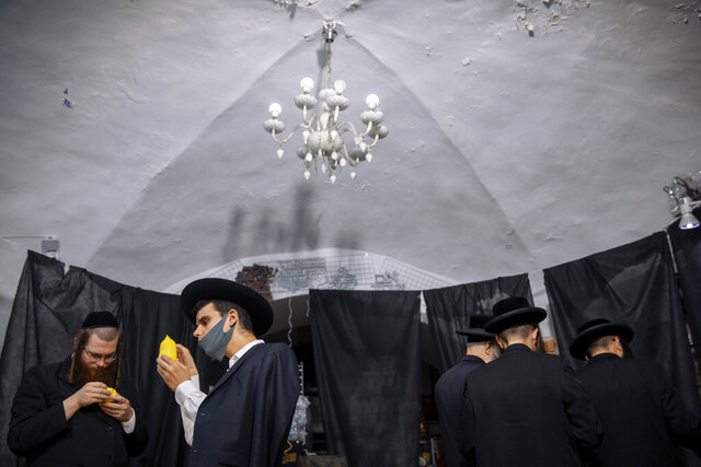 Ultra-Orthodox Jewish men, some wearing face masks, inspect an etrog, a citrus fruit, to determine if it is ritually acceptable as one of the four items used as a symbol on the Jewish holiday of Sukkot, during the current nationwide lockdown due to the coronavirus pandemic in the Orthodox Jewish neighborhood of Mea Shearim in Jerusalem, Wednesday Sept. 30, 2020. The holiday commemorates the Israelites 40 years of wandering in the desert and a decorated hut is erected outside religious households as a sign of temporary shelter. The weeklong holiday begins on Friday. (AP Photo/Oded Balilty)