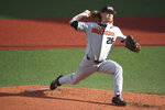 Oregon State's Bryce Fehmel pitches during the first inning against Minnesota during an NCAA college baseball tournament super regional game Saturday, June 9, in Corvallis, Ore. (Amanda Loman/Albany Democrat-Herald via AP)