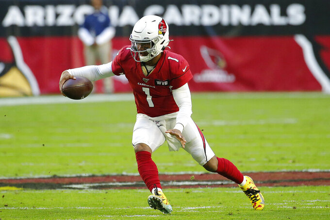 Arizona Cardinals quarterback Kyler Murray (1) scrambles during the first half of an NFL football game against the Cleveland Browns, Sunday, Dec. 15, 2019, in Glendale, Ariz. (AP Photo/Rick Scuteri)