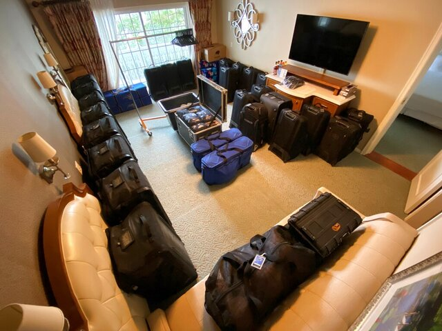 This photo provided by Jacob Diamond shows the second bedroom inside Magic equipment manager Jacob Diamond's suite at the team hotel on the Disney complex in Lake Buena Vista, Fla., on Thursday, July 9, 2020. All 22 teams in the NBA restart had to pack more than ever, for a road trip like none other. Every team is assured of spending at least five weeks at Disney, and some could be there for three months. The challenges for players and coaches are obvious, but the challenge for equipment managers — among the unsung heroes of this restart plan — aren't anywhere near as visible to those watching games from afar. ( Jacob Diamond via AP)